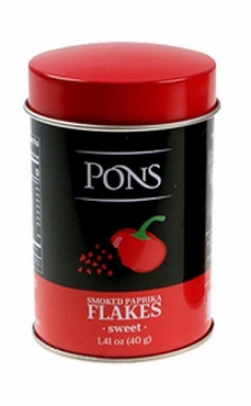 Pons Sweet Smoked Paprika Flakes. 40g (1.41oz), Case of Six Canisters